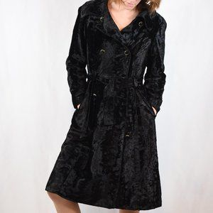 VTG 60's Borella Crushed Velvet Trench Coat Sz S